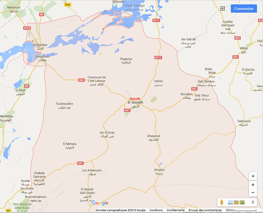 Carte Algerie El Bayadh.Notre Famille Cartes Des Lieux De La Wilaya D El Bayadh